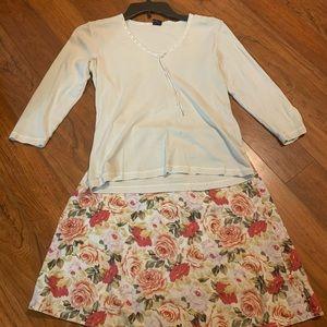 Women's 0 petite skirt and small shirt